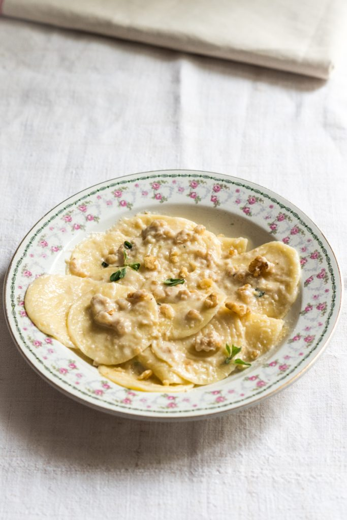 Italian Riviera corzetti pasta with walnut sauce