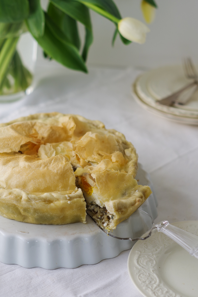Italian Riviera artichokes pie on the table, the perfect vegetable pie for a springy lunch.