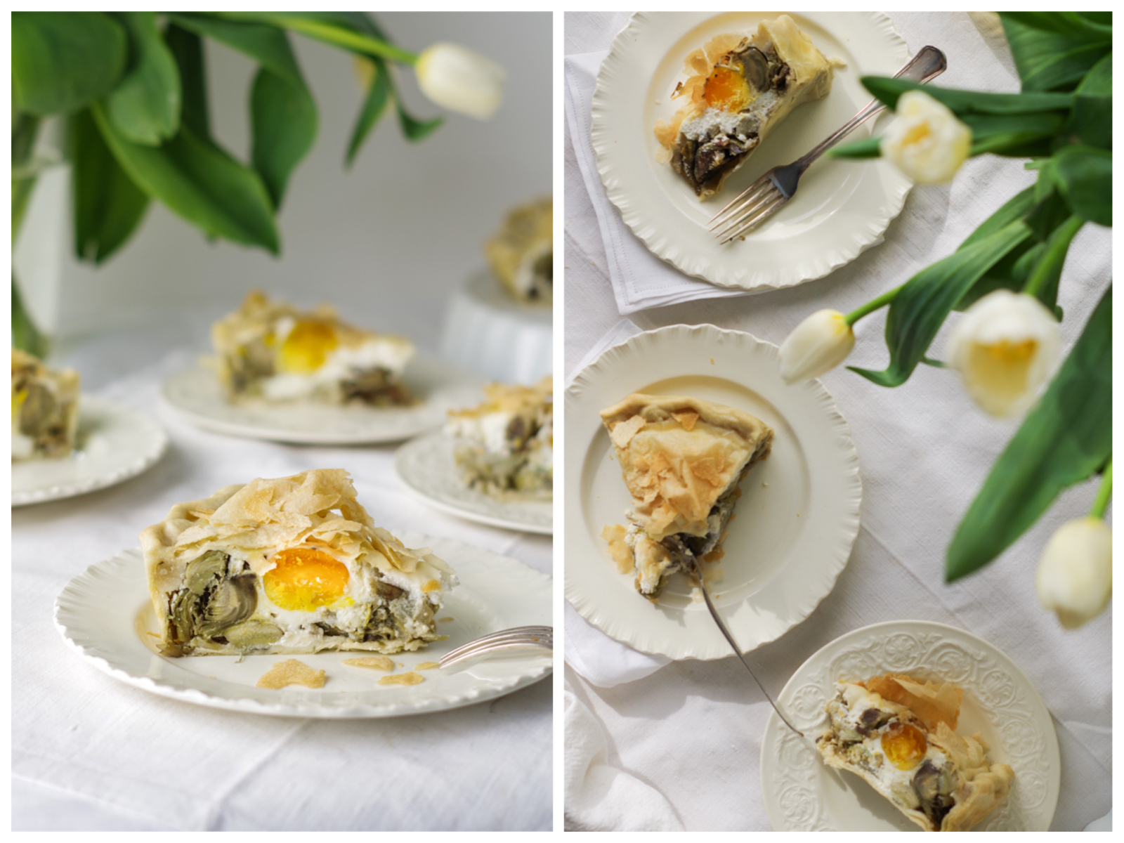 Italian Riviera artichokes pie on the table, the perfect vegetable pie for a springy lunch