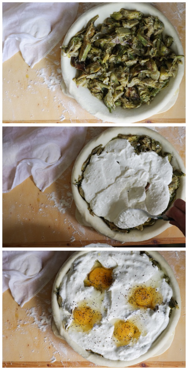 Italian Riviera artichokes pie: how to fill the pie