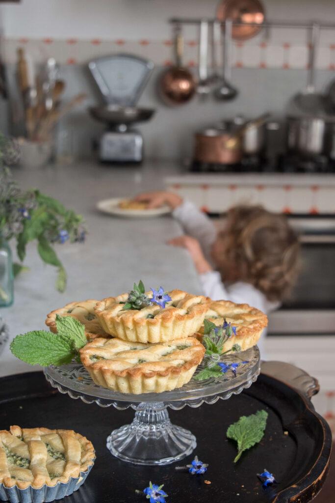 borages tartlets: foraging wild herbs for a shortcrust dessert