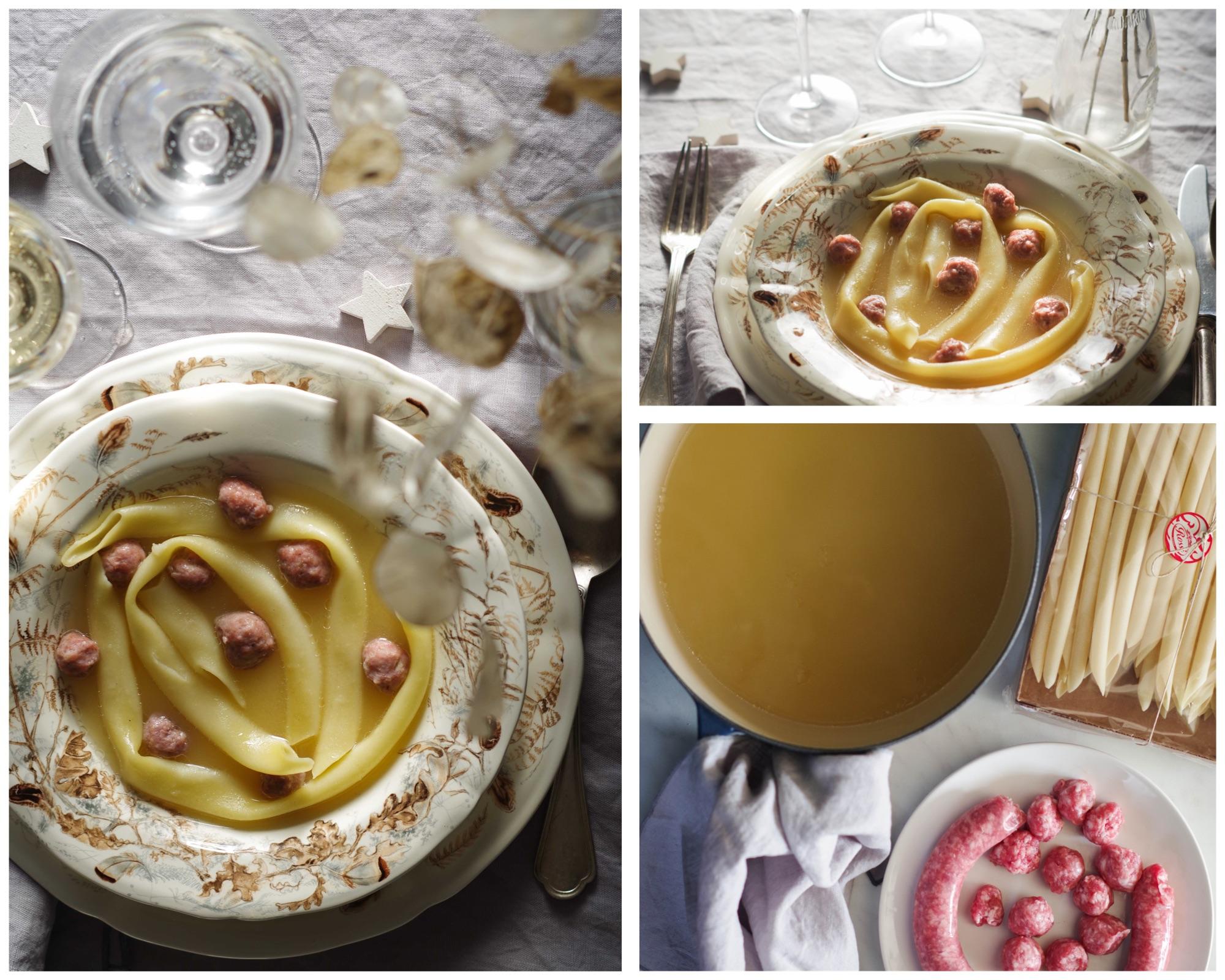 pranzo di Natale genovese: maccheroni in brodo
