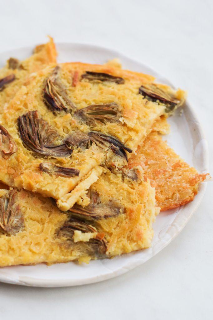 Farinata: the traditional Italian Riviera chickpea tart, with artichokes