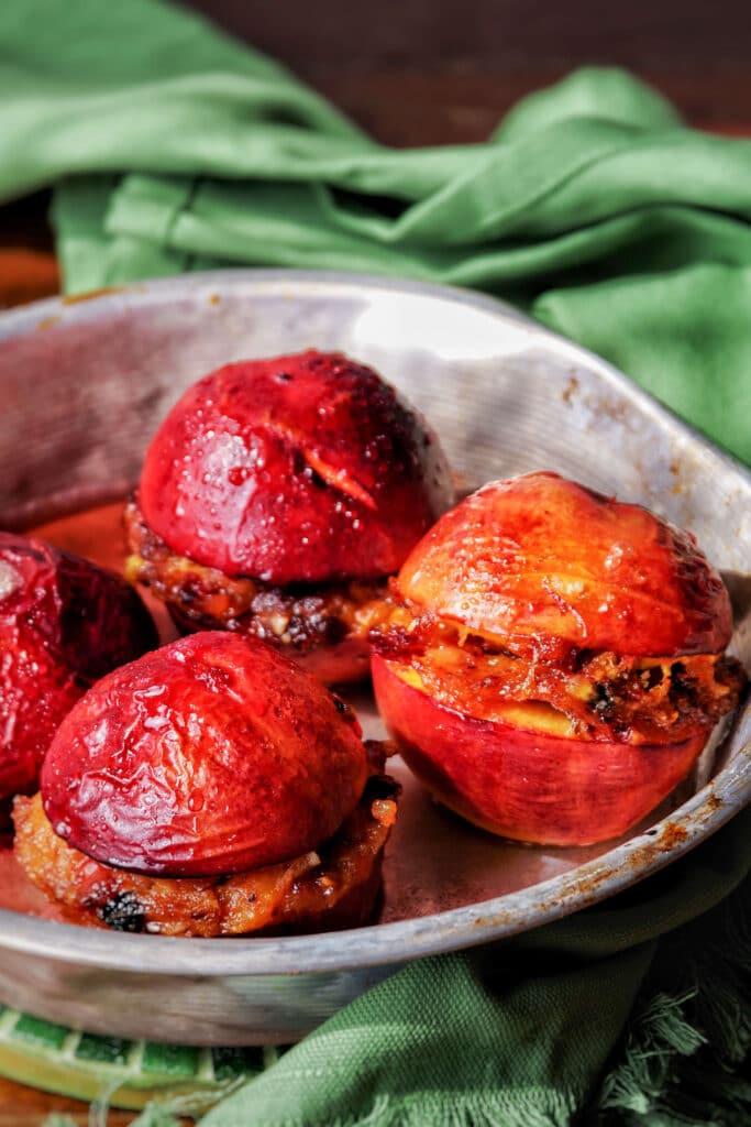 Traditional Ligurian baked stuffed peaches