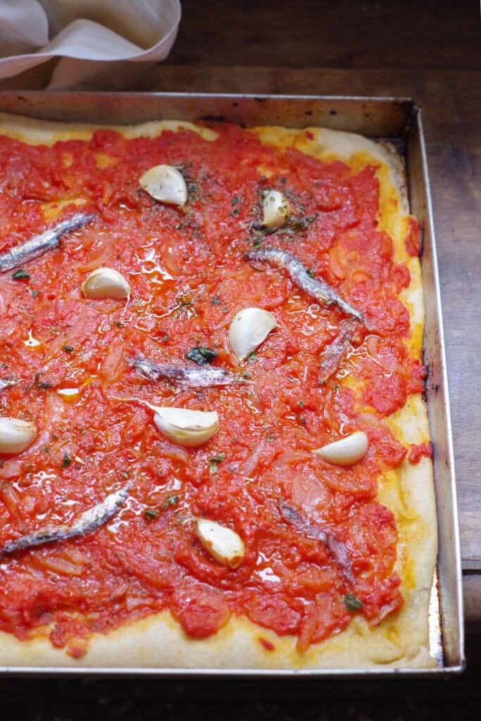 Sardenaira, the traditional Italian Riviera pizza with anchovies and garlic