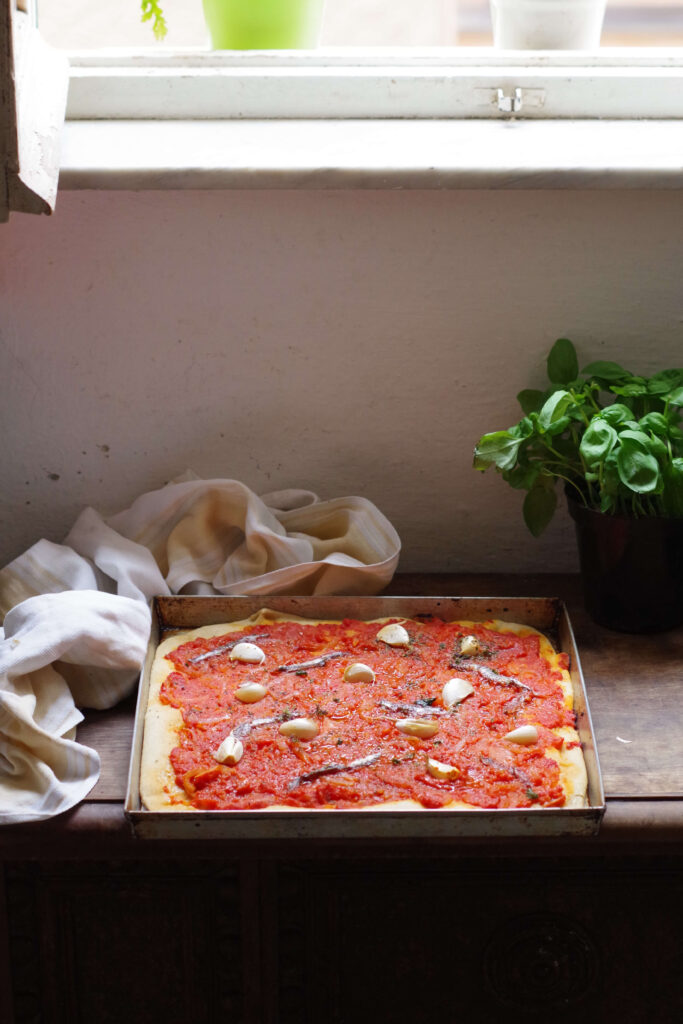 Sardenaira, the Italian Riviera traditional pizza without cheese