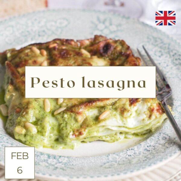 basil pesto lasagna online cooking class