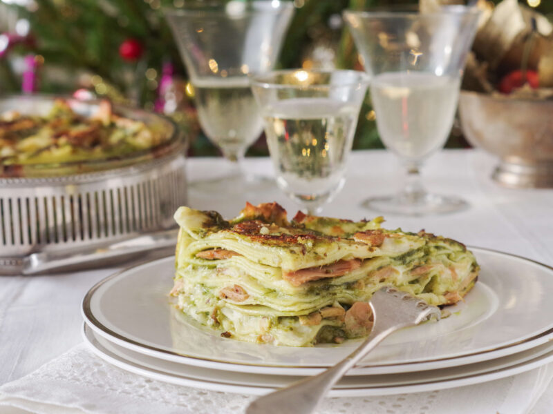 Lasagnas with pesto and tuna, from an old Liguria colony.